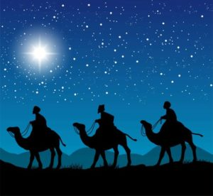 Christian Christmas scene with the three wise men